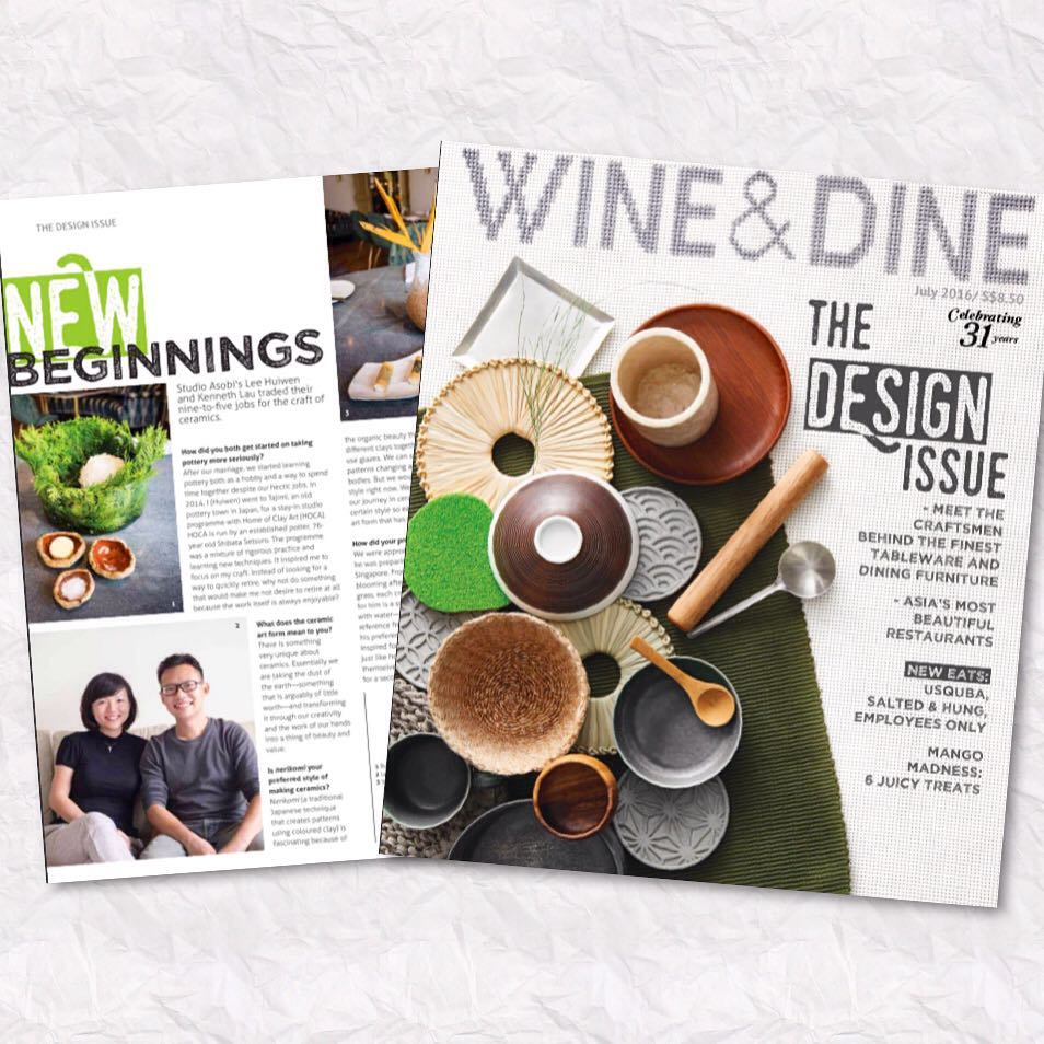 Thank you @wineanddinesg for featuring @studioasobi along with other craftsmen!  Special thanks to @whitegrassrestaurant too!  #design #handmade #pottery #ceramics #craftsmen #Singapore #food #tableware #studioasobi #whitegrass